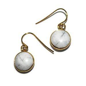 Natural Dainty White Howlite Earrings for Women